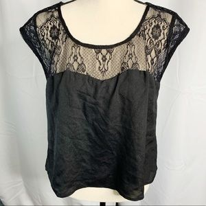 F21 black lace sweetheart silky blouse L
